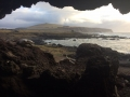 View from the cave near Ahu Tongariki